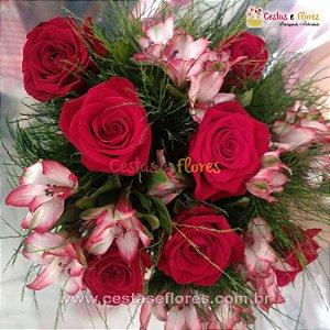 Buque 05 Rosas Colombianas Importadas Vermelhas