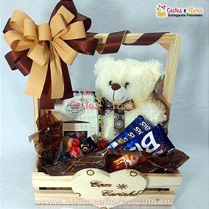 Cesta de Chocolates e Pelúcia + Caixa de Mensagens