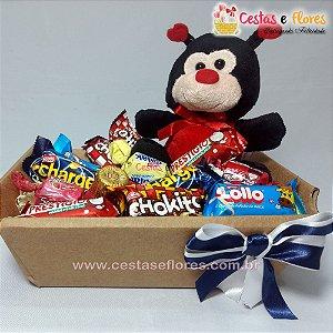 Cesta Mini Joaninha - Chocolates e Pelúcia