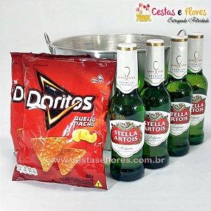 Balde de Cerveja Stella Artois e Doritos