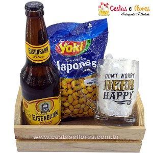 Kit Cerveja e Amendoim com Caneco de Vidro BEER HAPPY LUDI