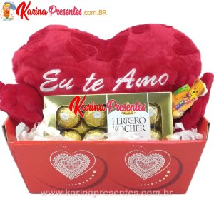Cesta de Chocolate Ferrero + Coração TE AMO