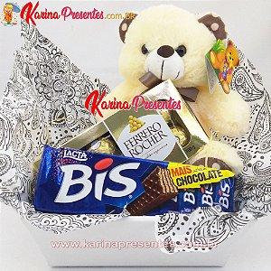 Cesta de Chocolates com Pelúcia - FERRERO e BIS + Pelúcia