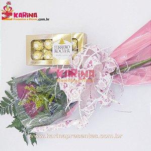 Arranjo 04 Rosas Nacionais Vermelhas + Ferrero Rocher 100gr