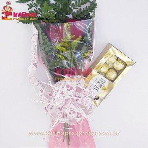 Arranjo 02 Rosas Colombianas ou 04 Rosas Nacionais Vermelhas + Ferrero Rocher 100gr