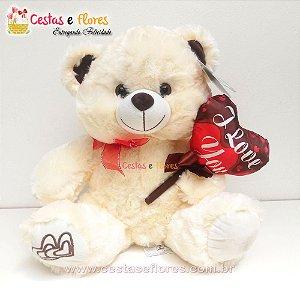 Urso de Pelúcia Coração I LOVE YOU