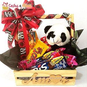 Cesta de Chocolates Urso Panda - AMOR