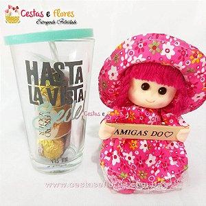 Copo de Vidro HASTA LA VISTA SEDE + Boneca Amigas do Coração + Ferrero Rocher