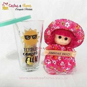 Copo de Vidro HERE COMES + Boneca Amigas do Coração + Ferrero Rocher