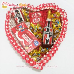 Coração São Paulino - Time - Caneca + Champagne + Chocolates
