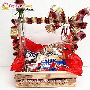 Cesta de Chocolates + FERRERO + NUTELLA + RAFFAELLO