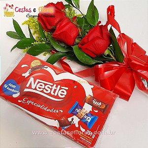 Arranjo de 03 Rosas Vermelhas + Caixa de Bombons