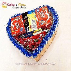 Coração de Chocolates Azul
