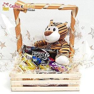 Cesta de Chocolates + Pelúcia Tigrinho