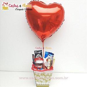 Cesta de Chocolates + Balão Coração
