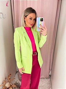 Blazer Alfaiatraia Alongado Verde Lima Neon
