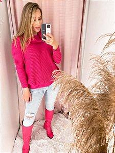 Blusa Em Tricot Pink Ampla