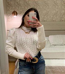 Blusa Branca em Tricô Rica em Detalhes linda!!!
