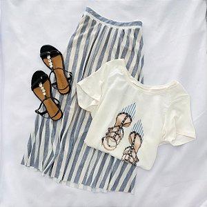 Conjunto Saia Plissada acompanha T-Shirt  Fashion