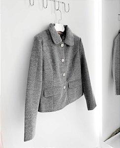 Casaco lã batida mescla com botões prata