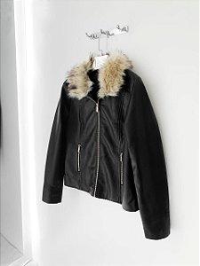 Jaqueta de couro fake pelinhos removível