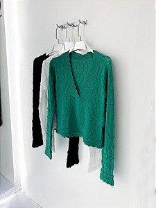 Blusa tricô manga longa gola V