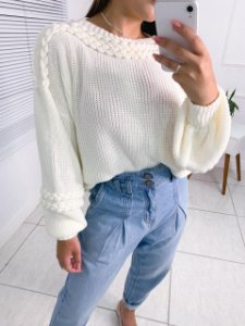 Blusa Em Tricot Off White Angelica
