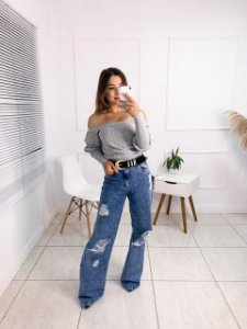 Calça Jeans Pantalona Vivian