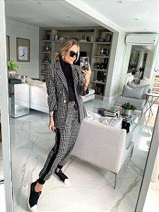 Blazer e Calça Tweed Xadrez