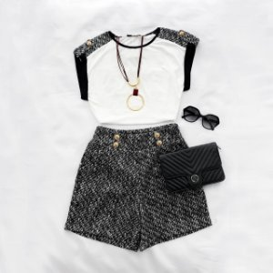 Conjunto Shorts e Blusa Tweed