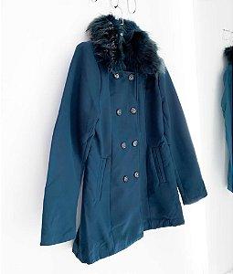 Casaco Lã Batida Com Pelo Removível Winter
