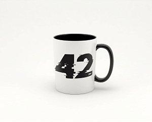 Caneca Cerâmica/Porcelana Branca 42K Cortuba - com interior preto 325ml