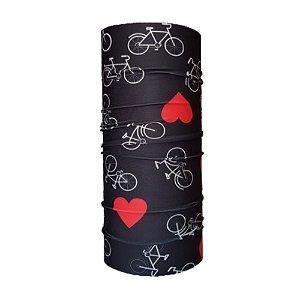 Bandana Tubular EcoHead RZ - Bike Coração Preta