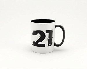 Caneca Cerâmica/Porcelana Branca 21K Cortuba - com interior preto 325ml