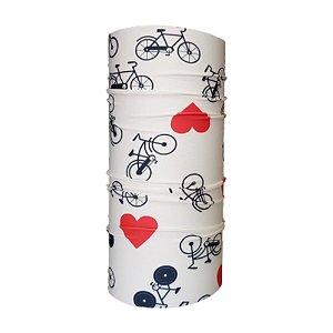 Bandana Tubular EcoHead RZ - Bike Coração Branca