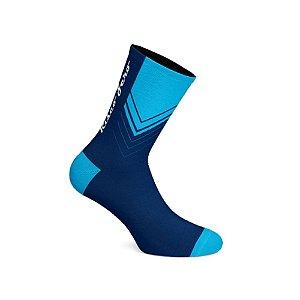 Meia Esportiva Cano Médio RZ - ZIG Azul Marinho com Azul Claro