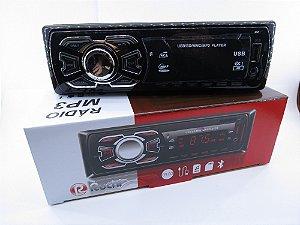 Som Automotivo Bluetooth com entrada para Pen Drive, Auxiliar e 2 saídas RCA