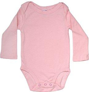 Body Básico Liso Manga Longa Rosa Bebê