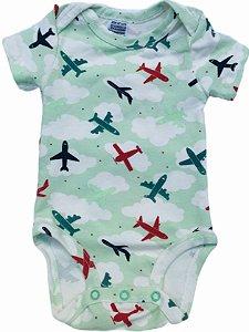 Body Manga Curta Verde Avião