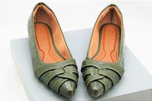 Pointed Curvy - Croco Verde Militar