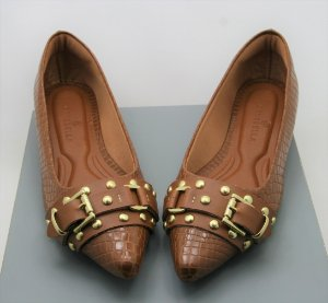 POINTED BUCKLE - CROCO CARAMELO
