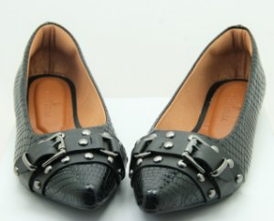 POINTED BUCKLE - SNAKE SKIN BLACK