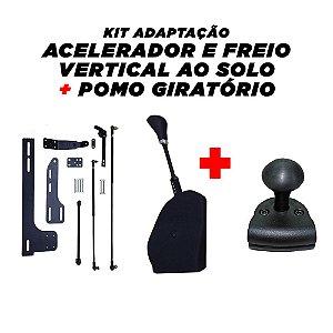 Acelerador e Freio Vertical Ao Solo + Pomo Giratório
