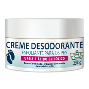 Flores & Vegetais - Creme Desodorante Esfoliante Para os Pés Uréia e Ácido Glicólico 250g