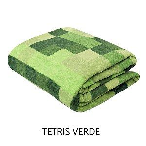 Mantinha Soft Fleece Premium 2,0 x 1,8m - Tetris Verde