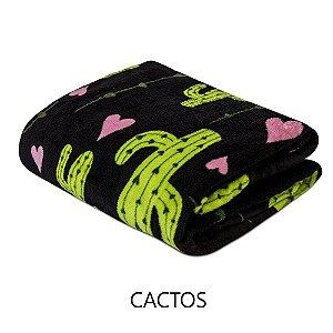 Mantinha Soft Fleece Premium 2,0 x 1,8m - Cactos
