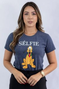 Baby Look Pluto Selfie azul marinho mescla