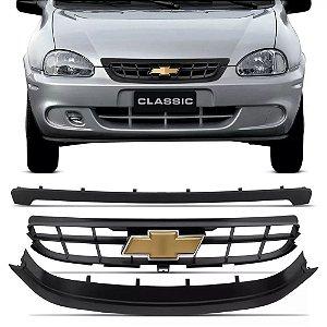 Grade Dianteira Chevrolet Corsa Classic 2009 a 2010 Preta com Emblema 3 Peças