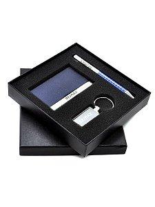 Kit executivo com porta cartão, chaveiro e caneta com estojo - 13106 azul