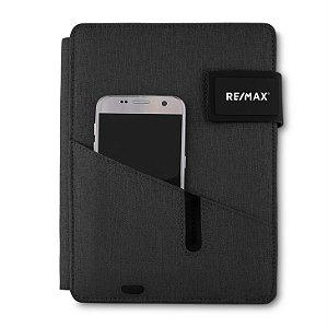 Caderno com powerbank cinza RE/MAX- cad220